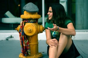 crazy woman talking to fire hydrant