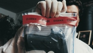 firearm in police evidence bag