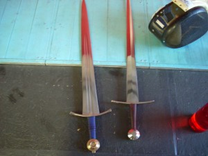 swords turned red from refelctions