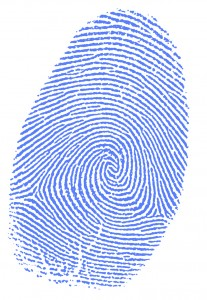 blue fingerprint impression