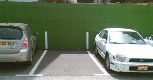 cars in parking spaces