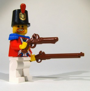 lego soldier with flintlock pistol and musket