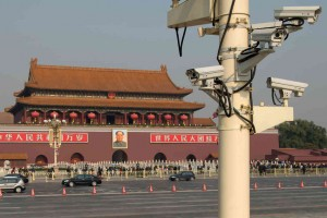 police cameras in china overlooking tiananmen square