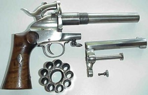 advanced design lemat revolver using cartridges, but disassembled