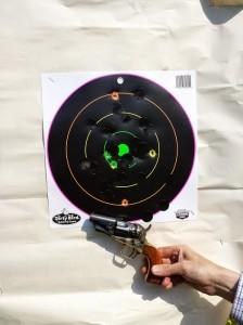 milo shooting his 36 caliber snubby at ten yards