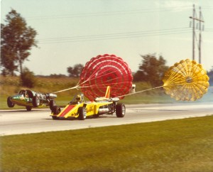 dragster racers using parachutes to stop