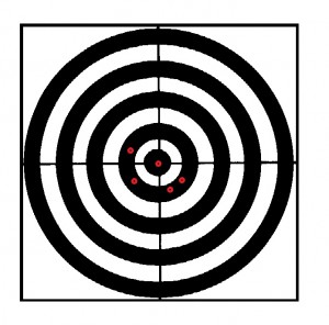 bullseye target with pattern from a revolver multiround