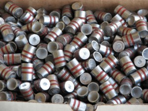 wadcutter bullets ready to be reloaded