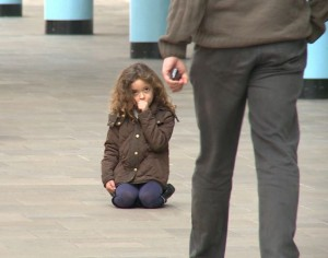 little girl lost in a london shopping mall