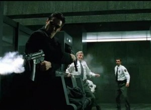matrix movie shootout with two submachineguns