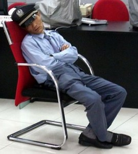security guard asleep on the job