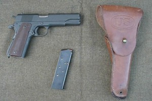 1911a1 with holster and magazine