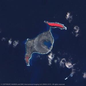 Hunga Tonga island after volcanic eruption