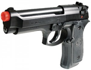 airsoft handgun with red tip barrel