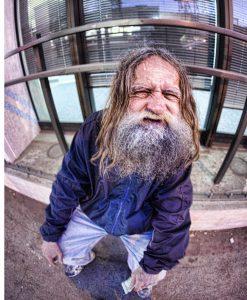 homeless guy with big beard