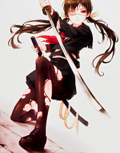 one eyed anime girl with sword